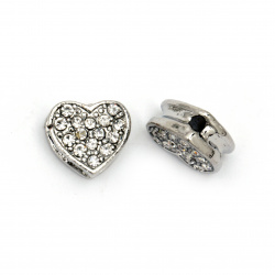 Delicate heart shape metal bead with crystals 11x12x5.5 mm hole 1 mm silver color
