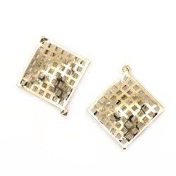 Pandantiv metalic cu cristale 35x32 mm orificiu 2 mm culoare aurie