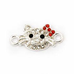 Element de legătură metalic cu cristale de pisoi 20,5x10 mm gaură 1,5 mm culoare argintiu -2 bucăți