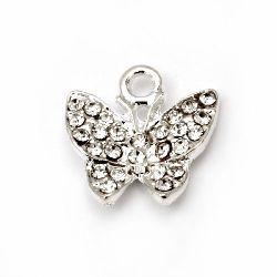 Висулка метал с кристали пеперуда 16x15.5 мм дупка 1.5 мм цвят бял