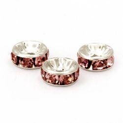 Șaibă metalică cu cristale roz 8x3,5 mm gaură 1,5 mm culoare alb -10 bucăți