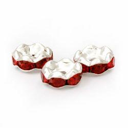 Шайба метал с кристали червени зиг заг 8x3.5 мм дупка 1.5 мм цвят бял -10 броя