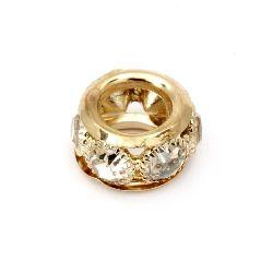 Мънисто метал с кристали бели 16x9 мм дупка 8.5 мм цвят злато