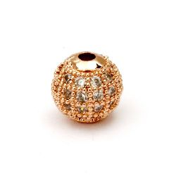 Топче метал с кристали 8 мм дупка 2 мм цвят мед