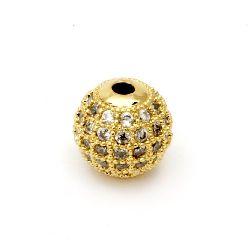 Топче метал с кристали 10 мм дупка 2 мм цвят злато