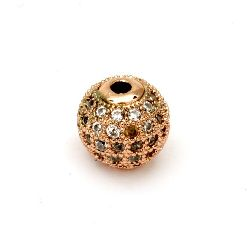 Metal ball with crystals for stringing 10 mm hole 2 mm copper color