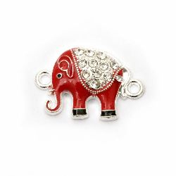 Metal connecting element red elephant with crystals 24x16x5 mm hole 2 mm color silver - 2 pieces