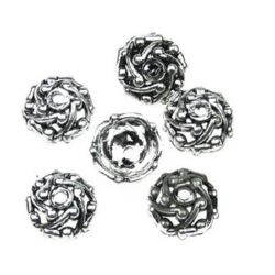 Шапка плетеница 6x13 мм сребро метализе -50 грама