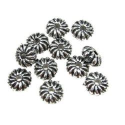 Мънисто метализе шайба цвете 4x9 мм дупка 2 мм цвят сребро -50 грама ~290 броя