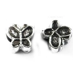 Мънисто метализе пеперуда 10x10x8 мм дупка 5 мм сребро -50 грама