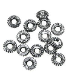 Saiba metalic  margele 3x8 mm culoare argintiu -50 grame ~ 590 bucăți