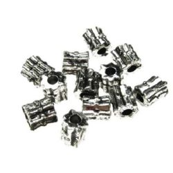 Cilindru metalizat  margele 6 mm gaură 2 mm culoare argintiu -50 grame