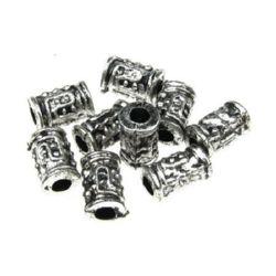 Cilindru metalizat  margele 10x6 mm orificiu 2,5 mm culoare argintiu -50 grame ~ 310 bucăți