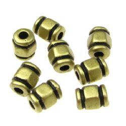 Cilindru metalizat  margele 8x6 mm orificiu 2,5 mm culoare auriu -50 grame ~ 280 bucăți