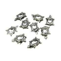 Broască țestoasă metalică 12x8x4 mm gaură 1 mm culoare argintiu -50 grame ~ 310 bucăți