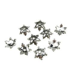 Capac metalic  margele 11x3 mm gaură 1 mm culoare argintiu -20 grame ~ 260 bucăți