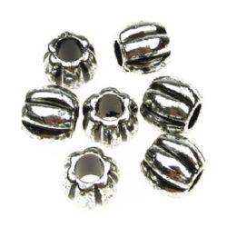 Butoi metalic  margele 10x11 mm gaură 5 mm culoare argintiu -50 grame ~ 85 bucăți