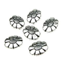 Floare metalică  margele 20x15,5x6,5 mm gaură 2 mm culoare argintiu -50 grame ~ 38 bucăți