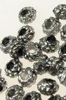Cilindru metalizat  margele 6x4 mm gaură 2 mm argintiu -25 grame ~ 345 bucăți