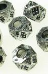Margele metalic abacus 10x6 mm gaură 3,5 mm argintiu -50 grame ~ 150 bucăți