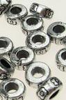 Șaibă metalică margele 8x4 mm gaură 4 mm argintiu -50 grame ~ 340 bucăți