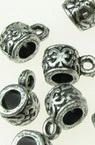 Cilindru metalic  margele cu inel orificiu 6x7 mm 4 mm argintiu -50 grame ~ 330 bucăți