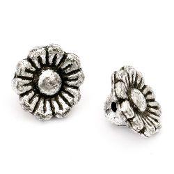 Мънисто метализе цвете 13x7 мм дупка 1 мм цвят сребро -50 грама ~ 123 броя