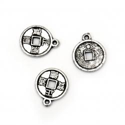 Висулка метализе паричка 15x2 мм цвят сребро -50 грама