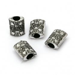 Мънисто метализе плочка 13.5x10.5x6.5 мм дупка 4.5 мм цвят сребро - 50 грама ~120 броя