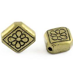 Мънисто метализе ромб 11.5x10x4.5 мм цвят антик бронз -50 грама ~150 броя