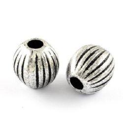 Мънисто метализе цилиндър 23x22 мм дупка 7.5 мм цвят сребро -50 грама ~8 броя