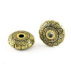 Мънисто метализе шайба 19x7.5 мм дупка 3.5 мм цвят злато старо -50 грама ~29 броя