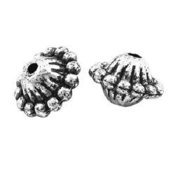 Șaibă metalică  margele 8x12 mm gaură 2 mm culoare argintiu -50 grame ~ 130 bucăți