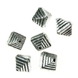 Мънисто метализе ромб 12x10x10 мм дупка 1 мм цвят сребро -50 ~75 броя