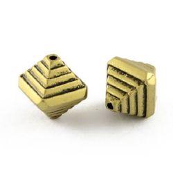 Мънисто метализе ромб 12x10x10 мм дупка 1 мм цвят антик бронз -50 ~75 броя