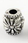 Cilindru metalizat  margele 11x10 mm gaură 4 mm culoare argintiu -50 grame ~ 85 bucăți