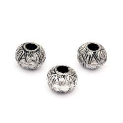 Мънисто метализе шайба 11x8 мм дупка 4 мм цвят сребро -50 грама ~110 броя