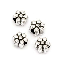Floare metalică margele 10x7 mm gaură 4 mm culoare argintiu -50 grame ~ 100 bucăți