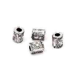 Мънисто метализе цилиндър 8x6 мм дупка 3 мм цвят сребро -50 грама ~290 броя