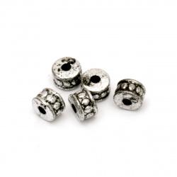 Мънисто метализе шайба 6x4 мм дупка 1 мм цвят сребро -50 грама ~790 броя
