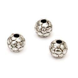 Мънисто метализе топче футбол 10 мм дупка 3 мм цвят сребро -50 грама ~85 броя