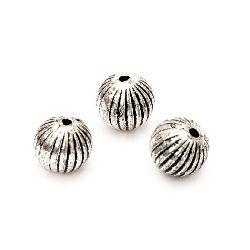 Мънисто метализе топче 10 мм дупка 1.5 мм цвят сребро -50 грама ~95 броя