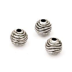 Мънисто метализе топче 9 мм дупка 2.5 мм цвят сребро -50 грама ~120 броя