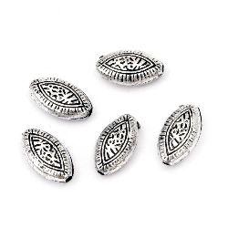 Margele metalic oval 14x8x5 mm gaură 1,5 mm culoare argintiu -50 grame ~ 160 bucăți
