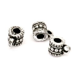 Bead metallic cylinder with ring with black edging 7x10 mm hole 3 mm silver -50 grams ~ 250 pieces