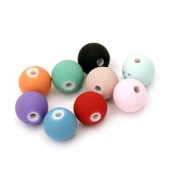 Acrylic ball bead for jewelry making 11 mm hole 2 mm color pastel mix - 20 grams ~ 21 pieces