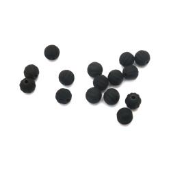 Мънисто пастел топче пъпеш 8 мм дупка 2 мм цвят черен -20 грама ±70 броя