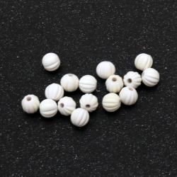Мънисто пастел топче пъпеш 8 мм дупка 2 мм цвят бял -20 грама ±70 броя