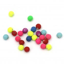 Мънисто пастел топче пъпеш 8 мм дупка 2 мм цвят микс -20 грама ±70 броя