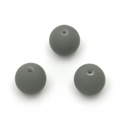 Acrylic ball bead for jewelry making 12 mm hole 2 mm color pastel dark gray - 20 grams ~ 20 pieces